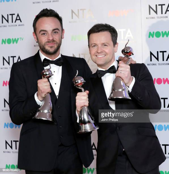 Anthony McPartlin and Declan Donnelly with their TV Presenter award and The Bruce Forsyth Entertainment award during the National Television Awards...