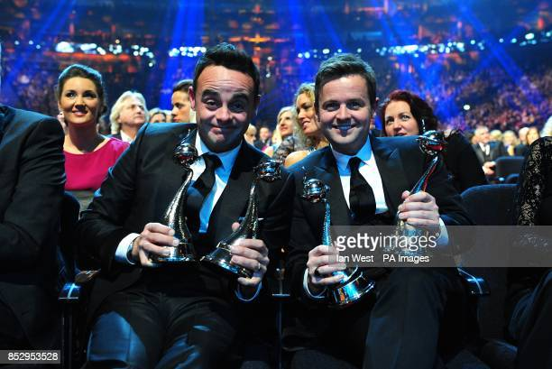 Anthony McPartlin and Declan Donnelly with their two NTA awards during the 2014 National Television Awards at the O2 Arena London