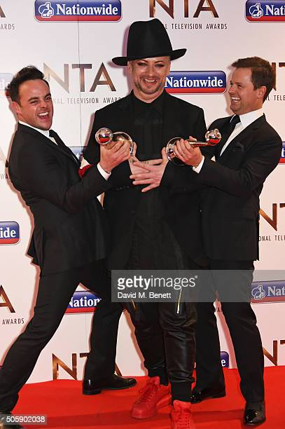 Anthony McPartlin Boy George and Declan Donnelly pose in the winners room at the 21st National Television Awards at The O2 Arena on January 20 2016...
