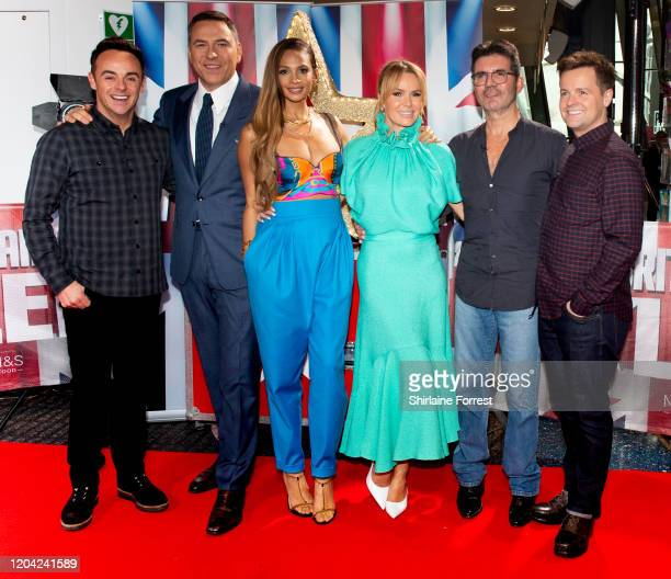 Anthony McPartlin, David Walliams, Alesha Dixon, Amanda Holden, Simon Cowell and Declan Donnelly attend the Britain's Got Talent 2020 Manchester...