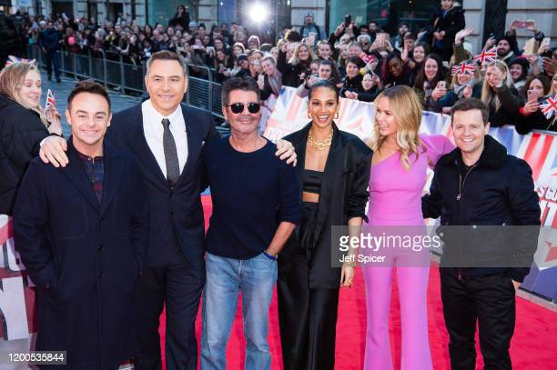 Anthony McPartlin David Walliams Simon Cowell Alesha Dixon Amanda Holden and Declan Donnelly attend the Britain's Got Talent 2020 photocall at London...