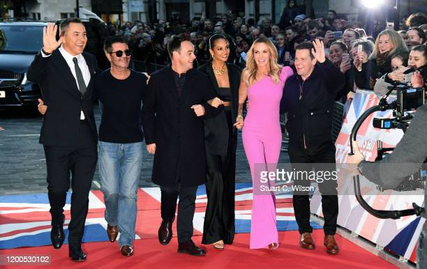 Anthony McPartlin, David Walliams, Simon Cowell, Amanda Holden, Alesha Dixon and Declan Donnelly attend the Britain's Got Talent 2020 photocall at...