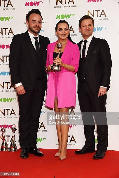 Anthony McPartlin Declan Donnelly and Scarlett Moffatt pose in the winners room at the National Television Awards at The O2 Arena on January 25 2017...