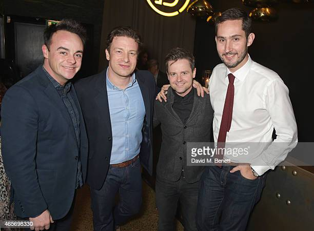 Anthony McPartlin Jamie Oliver Declan Donnelly and Kevin Systrom attend a party hosted by Instagram's Kevin Systrom and Jamie Oliver This is their...
