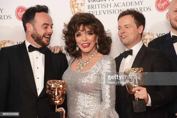 Anthony McPartlin Joan Collins and Declan Donnelly pose with the award for Entertainment Programme in the Winner's room at the Virgin TV BAFTA...