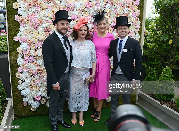 Anthony McPartlin Lisa Armstrong Ali Astall and Declan Donnelly attend day 2 of Royal Ascot at Ascot Racecourse on June 15 2016 in Ascot England