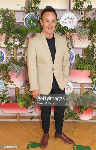 Anthony McPartlin poses in evian's VIP suite, certified as carbon neutral by The Carbon Trust, during day eight of The Championships at Wimbledon on...