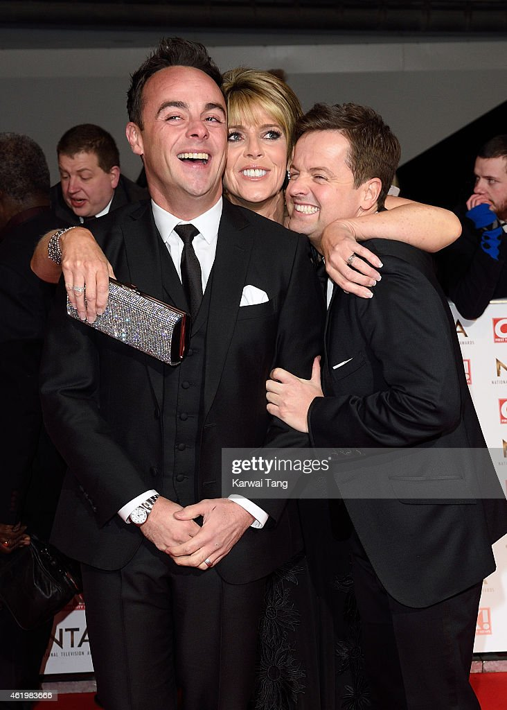 Anthony McPartlin, Ruth Langsford and Declan Donnelly attend the National Television Awards at 02 Arena on January 21, 2015 in London, England.