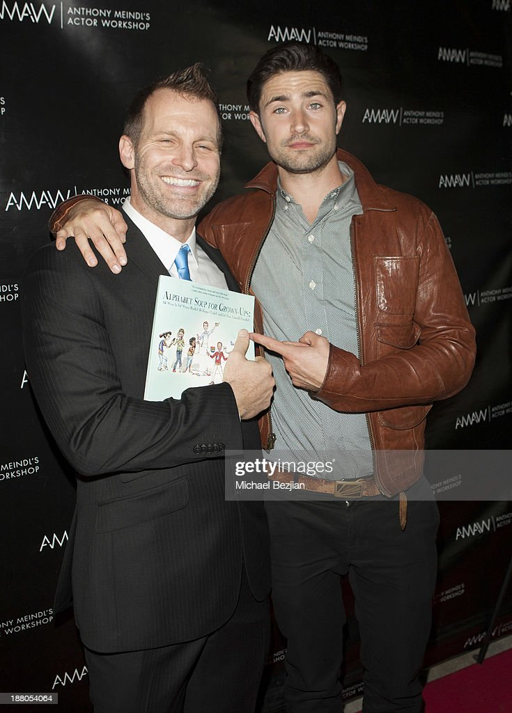 Anthony Meindl and Matt Dallas attend Alphabet Soup For Grown-Ups Book Launch Party at Bugatta on November 14, 2013 in Los Angeles, California.