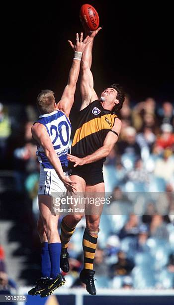 Anthony Mellington of North Melbourne contests the ruck against Justin Charles of Richmond in the match between Richmond and North Melbourne during...
