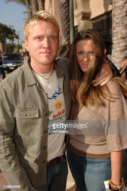 Anthony Michael Hall and guest during 2005 MTV Movie Awards Red Carpet at Shrine Auditorium in Los Angeles California United States