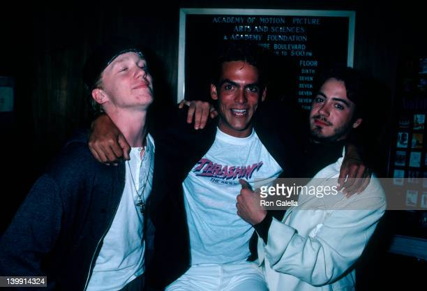Anthony Michael Hall Robert Russler and Robert Downey Jr at the Premiere of 'Trashin'' Academy Theater Beverly Hills