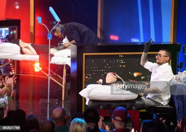Anthony Michaels and DJ Tambe compete during the Ink Master Season 10 Finale at the Park Theater at Monte Carlo Resort and Casino in Las Vegas on...