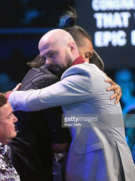 Anthony Michaels and Ink Master winner Josh Payne embrace during the Ink Master Season 10 Finale at the Park Theater at Monte Carlo Resort and Casino...