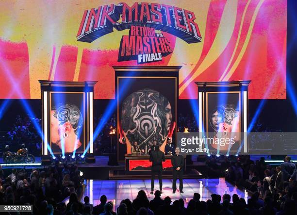Anthony Michaels and judges Oliver Peck Dave Navarro and Chris Nunez speak onstage during the Return of the Masters competition phase of the Ink...