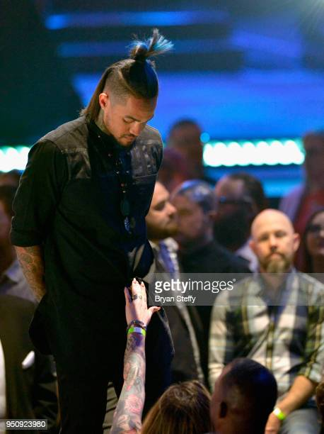 Anthony Michaels stands onstage during the Ink Master Season 10 Finale at the Park Theater at Monte Carlo Resort and Casino in Las Vegas on April 19...
