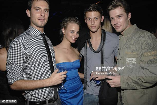 Anthony Milano Jessica Roffey and Tobias Cameroon attend BOSS Black Spring/Summer 2008 Collection at Cunard Building on October 17 2007 in New York...