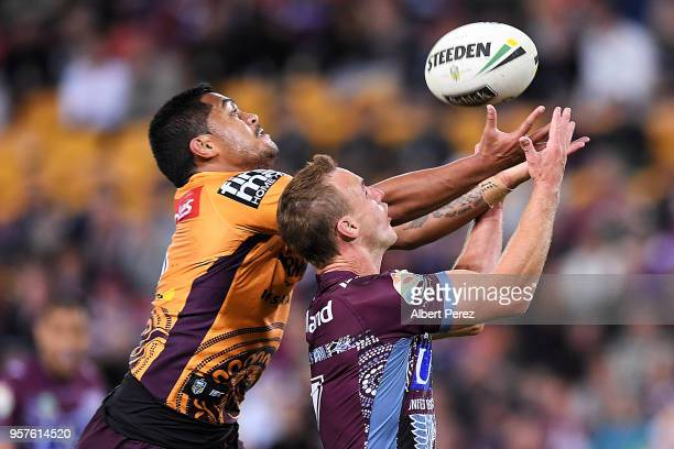 Anthony Milford of the Broncos and Daly CherryEvans of the Sea Eagles compete for the ball during the round ten NRL match between the Manly Sea...
