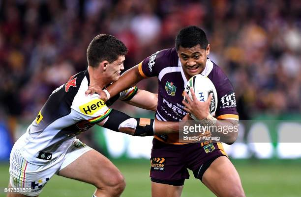 Anthony Milford of the Broncos attempts to break away from the defence during the NRL Semi Final match between the Brisbane Broncos and the Penrith...
