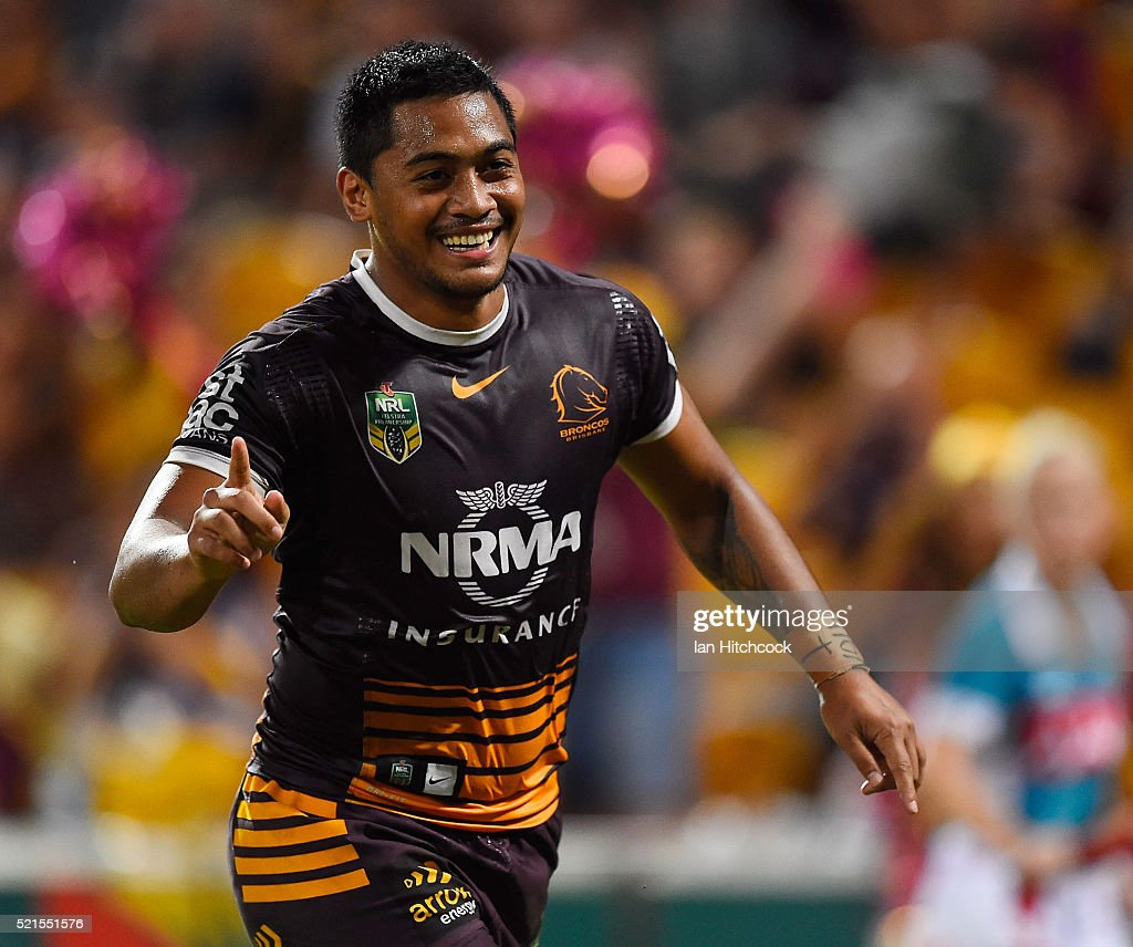Anthony Milford of the Broncos celebrates after scoring a try during the round seven NRL match between the Brisbane Broncos and the Newcastle Knights at Suncorp Stadium on April 16, 2016 in Brisbane, Australia.