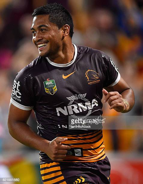 Anthony Milford of the Broncos celebrates after scoring a try during the round seven NRL match between the Brisbane Broncos and the Newcastle Knights...