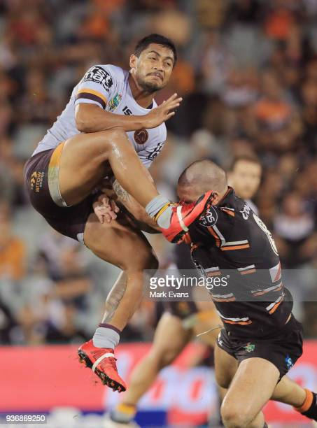 Anthony Milford of the Broncos gets a kick away during the round three NRL match between the Wests Tigers and the Brisbane Broncos at Campbelltown...