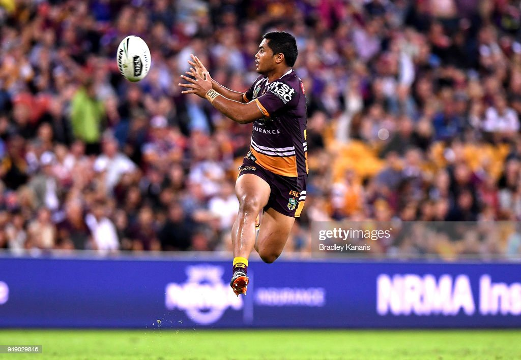Anthony Milford of the Broncos jumps to catch the ball during the round seven NRL match between the Brisbane Broncos and the Melbourne Storm at Suncorp Stadium on April 20, 2018 in Brisbane, Australia.