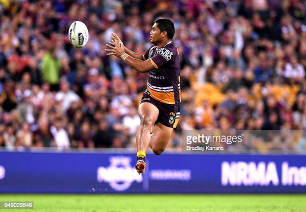 Anthony Milford of the Broncos jumps to catch the ball during the round seven NRL match between the Brisbane Broncos and the Melbourne Storm at...
