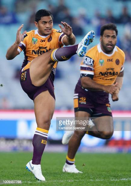 Anthony Milford of the Broncos kicks during the round 21 NRL match between the Canterbury Bulldogs and the Brisbane Broncos at ANZ Stadium on August...