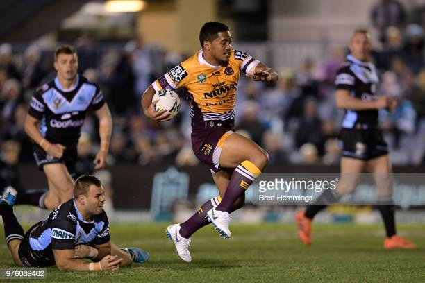 Anthony Milford of the Broncos makes a break to score a try during the round 15 NRL match between the Cronulla Sharks and the Brisbane Broncos at...
