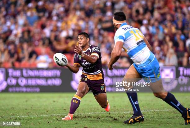 Anthony Milford of the Broncos passes the ball during the round four NRL match between the Brisbane Broncos and the Gold Coast Titans at Suncorp...