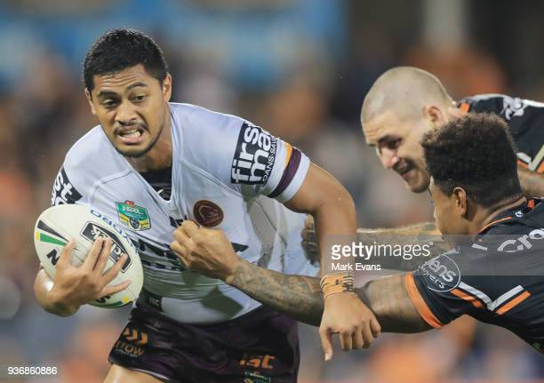 Anthony Milford of the Broncos runs with the ball during the round three NRL match between the Wests Tigers and the Brisbane Broncos at Campbelltown...