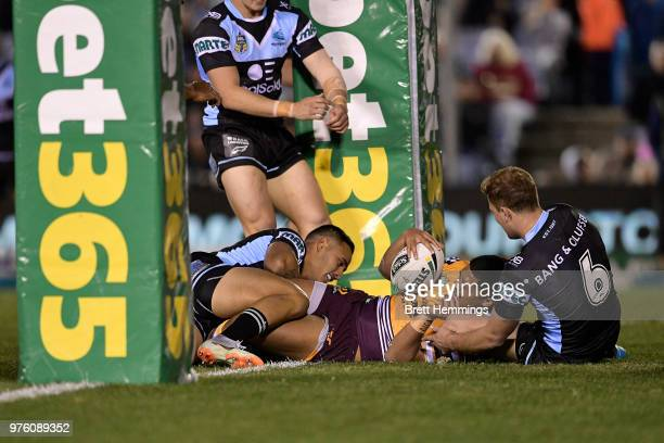 Anthony Milford of the Broncos scores a try during the round 15 NRL match between the Cronulla Sharks and the Brisbane Broncos at Southern Cross...