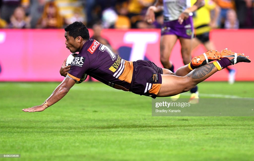 Anthony Milford of the Broncos scores a try during the round seven NRL match between the Brisbane Broncos and the Melbourne Storm at Suncorp Stadium on April 20, 2018 in Brisbane, Australia.