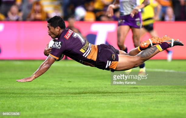Anthony Milford of the Broncos scores a try during the round seven NRL match between the Brisbane Broncos and the Melbourne Storm at Suncorp Stadium...