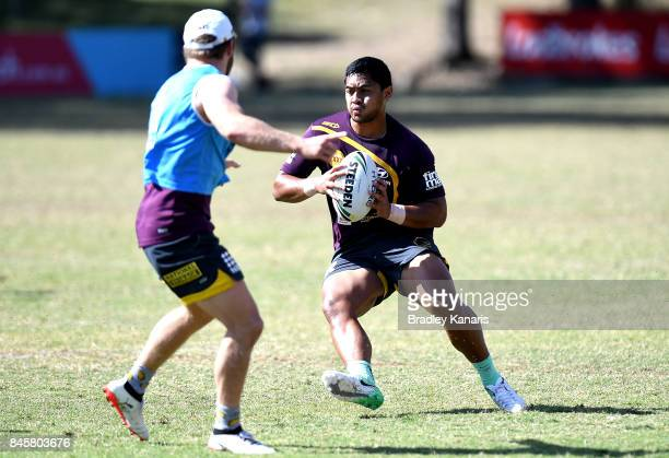 Anthony Milford runs with the ball during a Brisbane Broncos NRL training session on September 12 2017 in Brisbane Australia
