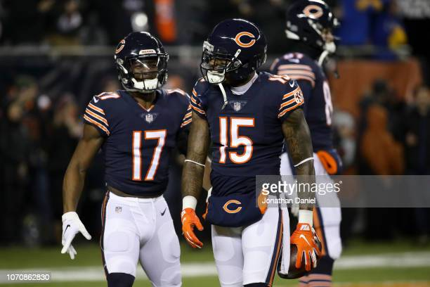 Anthony Miller and Josh Bellamy of the Chicago Bears warm up prior to the game against the Los Angeles Rams at Soldier Field on December 9 2018 in...