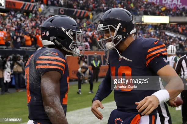 Anthony Miller and quarterback Mitchell Trubisky of the Chicago Bears celebrate after Miller scored a touchdown in the third quarter against the New...