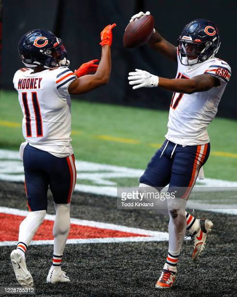 Anthony Miller celebrates his touchdown with Darnell Mooney of the Chicago Bears in the fourth quarter of an NFL game against the Atlanta Falcons at...