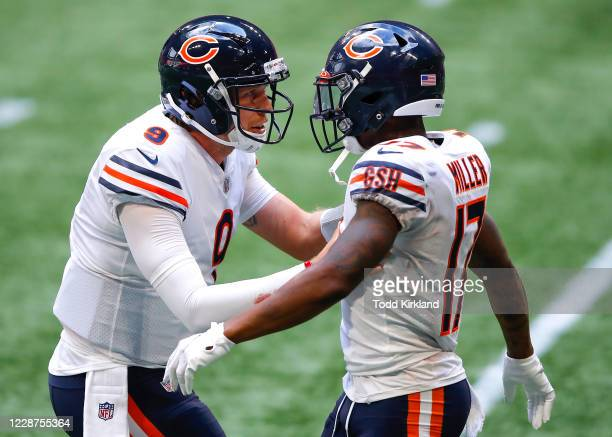 Anthony Miller celebrates his touchdown with Nick Foles of the Chicago Bears in the fourth quarter of an NFL game against the Atlanta Falcons at...
