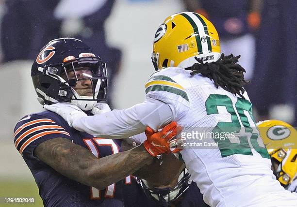 Anthony Miller of the Chicago Bears blocks Kevin King of the Green Bay Packers at Soldier Field on January 03, 2021 in Chicago, Illinois. The Packers...