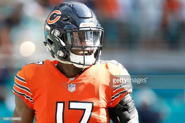 Anthony Miller of the Chicago Bears celebrates a touchdown in the fourth quarter against the Miami Dolphins at Hard Rock Stadium on October 14 2018...