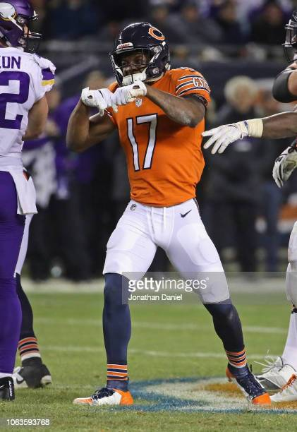 Anthony Miller of the Chicago Bears celebrates after a first down catch against the Minneota Vikings at Soldier Field on November 18 2018 in Chicago...