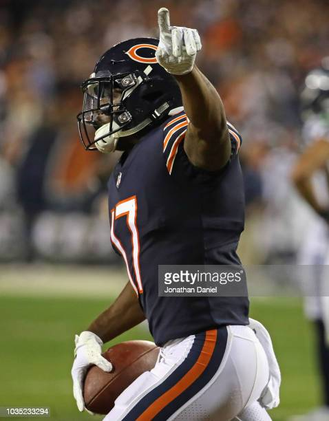 Anthony Miller of the Chicago Bears celebrates after catching a touchdown pass against the Seattle Seahawks at Soldier Field on September 17 2018 in...