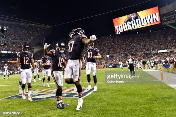 Anthony Miller of the Chicago Bears celebrates after scoring against the Seattle Seahawks in the fourth quarter at Soldier Field on September 17 2018...