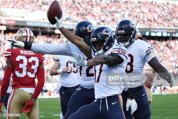 Anthony Miller of the Chicago Bears celebrates after scoring against the San Francisco 49ers during their NFL game at Levi's Stadium on December 23...