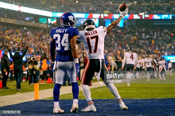 Anthony Miller of the Chicago Bears celebrates his fourth quarter touchdown against the New York Giants at MetLife Stadium on December 02 2018 in...
