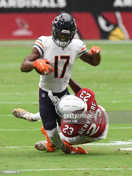 Anthony Miller of the Chicago Bears is tackled by Bene Benwikere of the Arizona Cardinals during the first quarter at State Farm Stadium on September...
