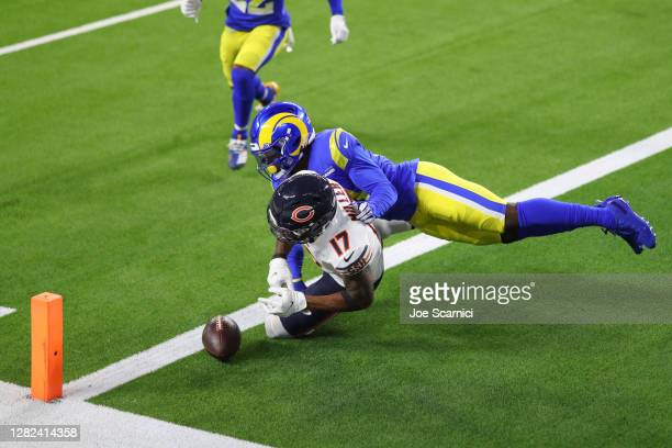 Anthony Miller of the Chicago Bears is tackled in the end zone by Greg Gaines of the Los Angeles Rams in the fourth quarter at SoFi Stadium on...