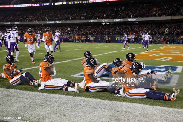 Anthony Miller of the Chicago Bears leads a celebration boat after scoring against the Minnesota Vikings in the second quarter at Soldier Field on...